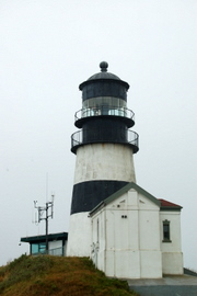 The Cape D lighthouse. It was raining yesterday.