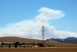 There is a wildfire burning in Monterey County.
