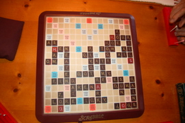 We played Scrabble with the Etlings last Saturday.